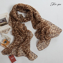 For you 2016 summer cool fashion women scarves and stoles for the beach luxurious leopard striped pattern chiffon bandana AP586(China (Mainland))