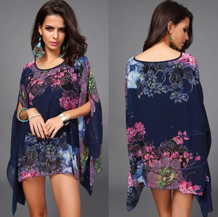 2015 Fashion Bohemian Flower Print Women Dress Casual Batwing Sleeve Chiffon Vintage Summer Plus Size Clothing Sale - jiangnan style store