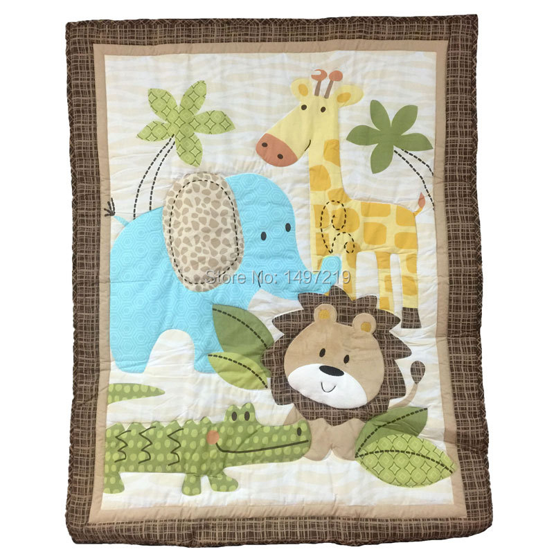 Baby Quilt Patterns For Boy : Aliexpress.com : Buy Zoo animal pattern crib quilts for baby boys embroidery pattern lion PH147 ...