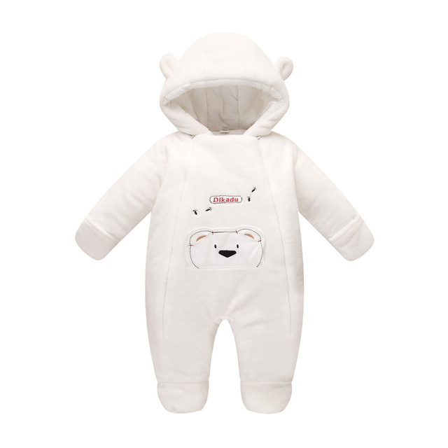 Новая мода 2016 Новорожденных зима верхняя одежда ребенка комбинезон коралловый флис хлопка мягкий младенец девочка одежда утолщение комбинезоны
