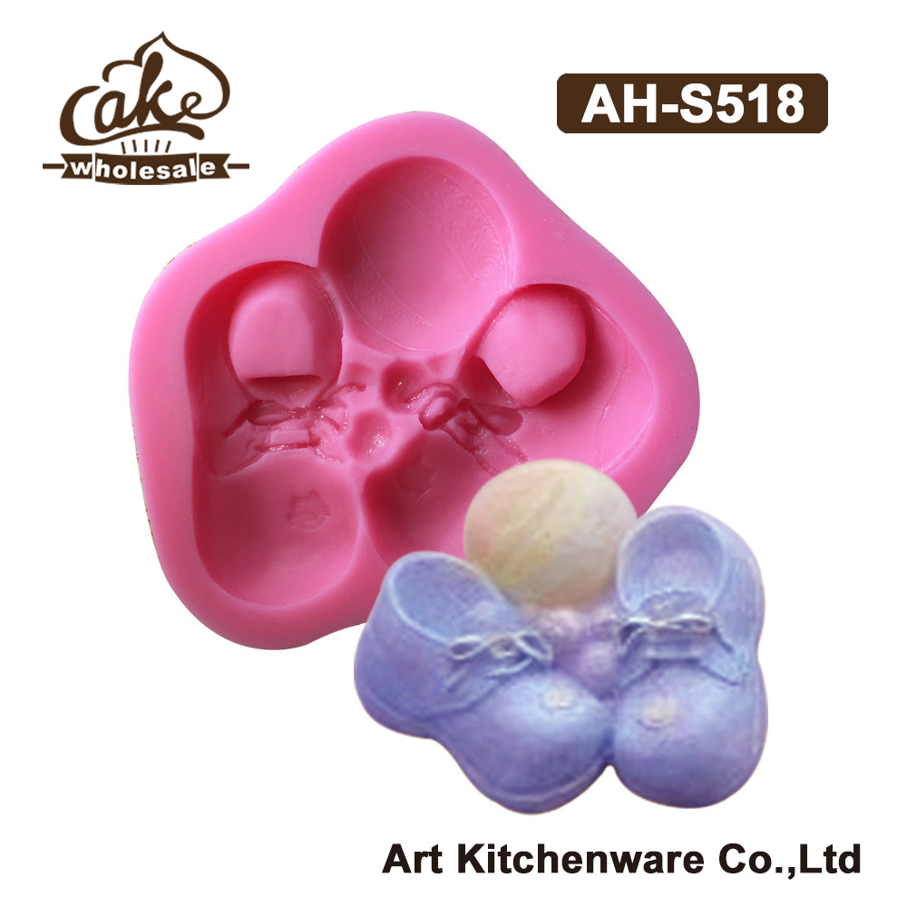 New Arrival Baby Shoes Silicone Design Cake Moulds for Decorations,Silicone Mold Fondant 3D Soap Molds Sugarcraft Tools AH-S518(China (Mainland))
