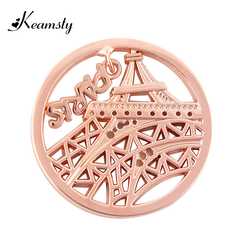 Keamsty New Arrival Parisian Inspired Necklace Paris Dangle Eiffel Tower fit with 35mm Coin Holder Necklace(China (Mainland))