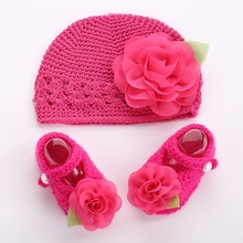 Flower baby crochet photo prop girl shoes winter hat set,Crib toddler boots knitted Beanie,kids shoes for girl #2T0096 5 set/lot(China (Mainland))