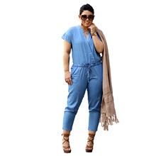 2016 aliexpress big European and American fashion jeans women slim casual Jumpsuit strap nine pants