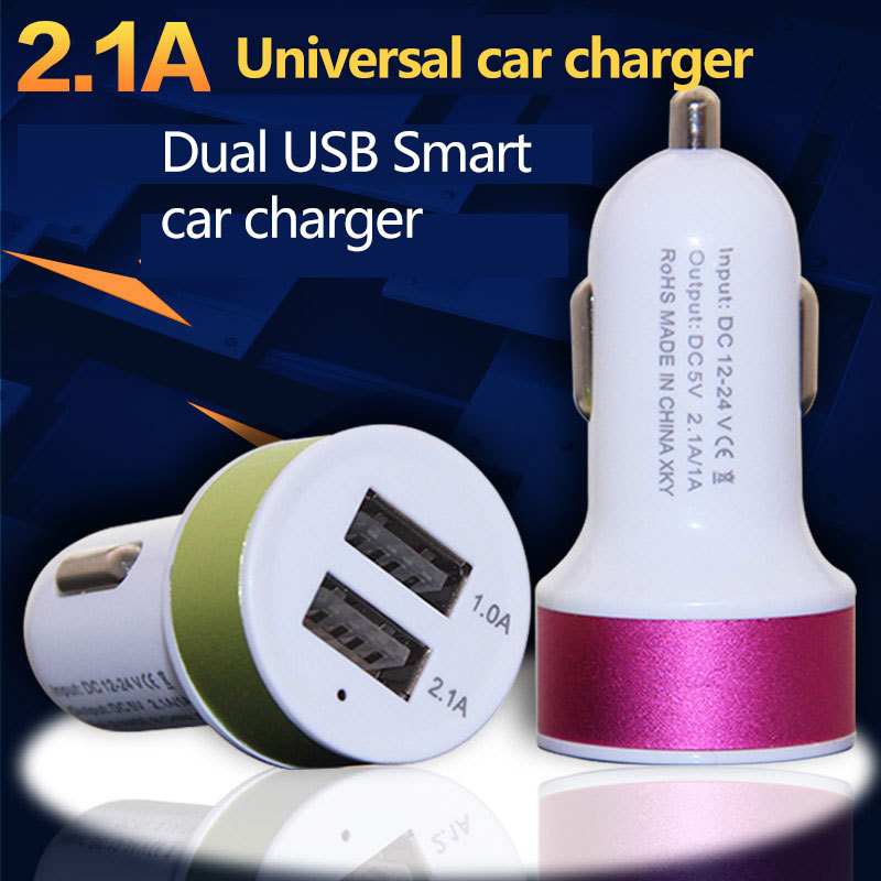 High Quality Micro Auto Universal Dual USB Car Charger For iPad iPhone 5V 2.1A Mini Adapter Short Circuit Protection One Piece(China (Mainland))
