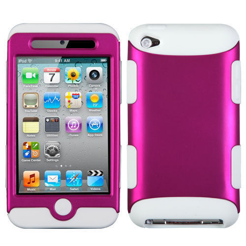 Case Cover For iPod Touch 4th Gen Hot Pink White Hard &Soft Rubber Dual Layer Hybrid(China (Mainland))