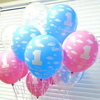 52pcs/lot Inflatable ball balloons baby happy 1st birthday party decoration 12 inch latex baloon+baloon pump+balloon line(China (Mainland))