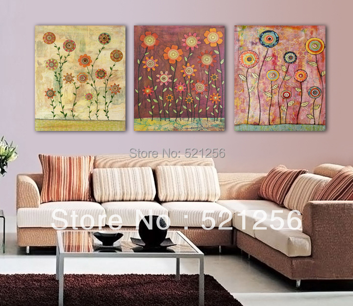 3 Panels Free Shipping Modern Canvas Prints Home Decoration Oil Painting Picture No Frame Vintage Flower Painting for Kids A589(China (Mainland))