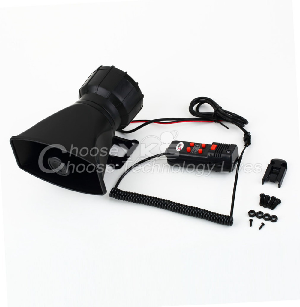 Van Truck PA System 60W Loud Horn 12V Car Siren Auto Max 300dB 5 Sounds tone Free / Drop Shipping(China (Mainland))