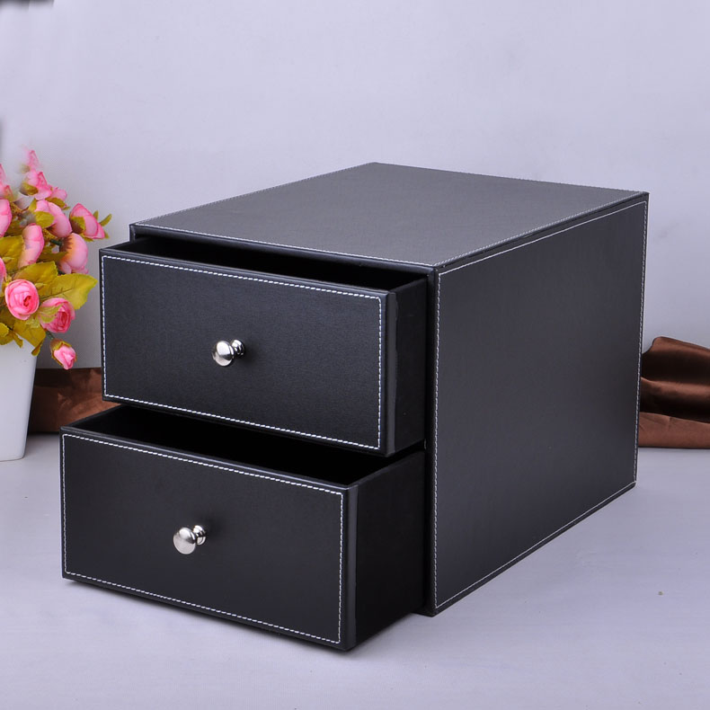 Double layer double drawer wood structure leather desk - Desk organizer box ...