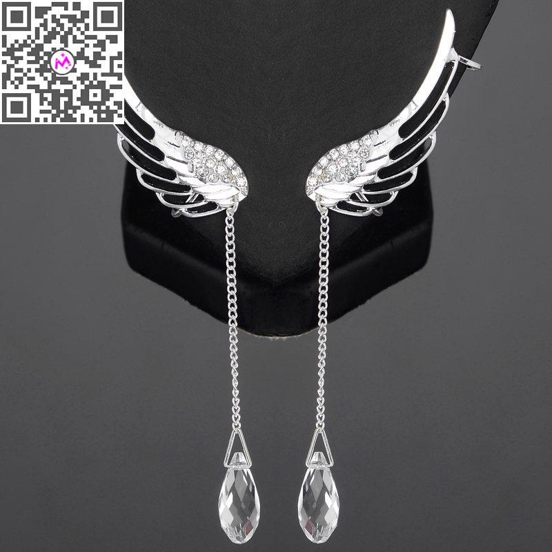 Crystal Rhinestone Wing Ear Cuff Earrings Women Silver Angle Earring Long Drop Dangle Clip - Mixlot Store store