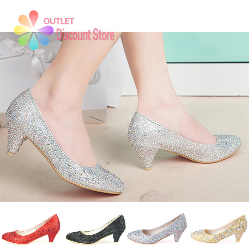 Silver Rhinestone Heels Low Heel Glitter Wedding Shoes Crystal Rhinestone Shoes Solado Vermelho