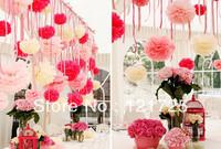 10pcs 25cm(10inch) Tissue Paper Pom Poms Wedding Party Decor Craft Paper Flower For Wedding Decoration