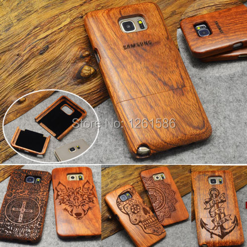 100% Natural Engraved Edge Multi-Pattern Wood Bamboo Celular Case For Samsung Galaxy S4 mini S5 Neo/S7 S6 Edge Plus/NOTE 5/4/3