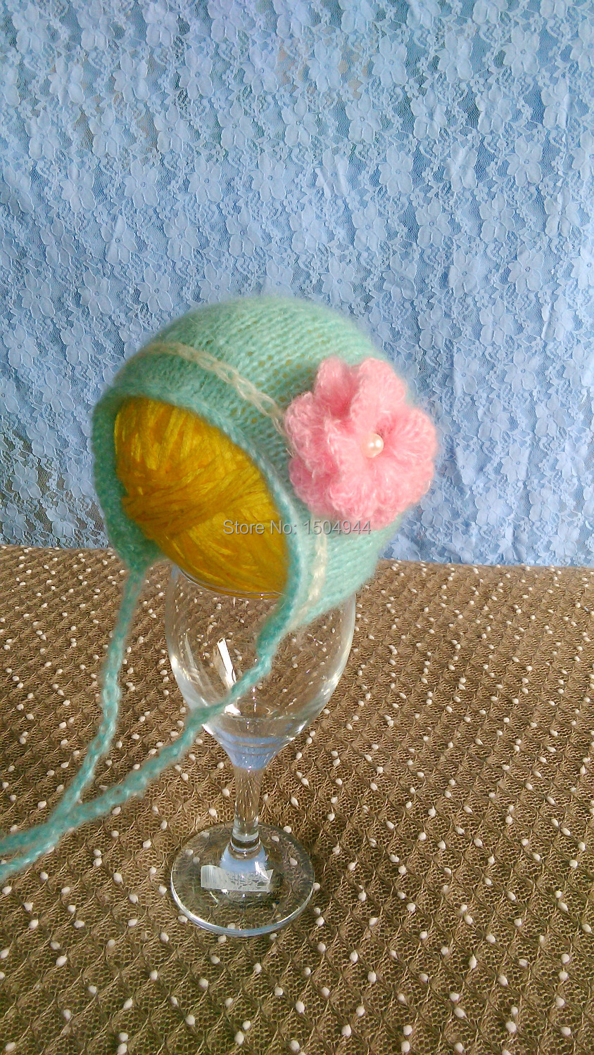 MODEL# SYX-150407-1, hand by hand woven mohair and big flower hat baby shower gift, baby photography props(China (Mainland))