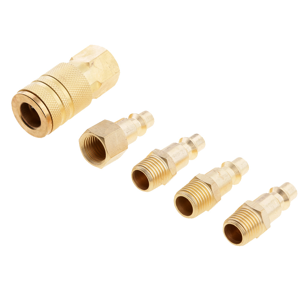5 Pieces Air Hose Line Compressor Male and Female Fitting Coupler Connector 1/4'' NPT