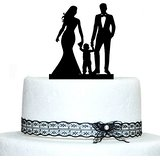 Happy Family Wedding Cake Toppers with Boy, Bride and Groom Silhouette Black Acrylic Wedding Cake Stand Wedding Cake Accessories(China (Mainland))