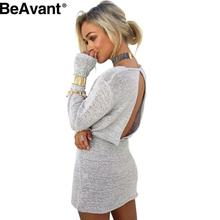 BeAvant Hollow out knitted sexy dress Women loose strappy backless short dress Autumn winter casual long sleeve dresses vestidos