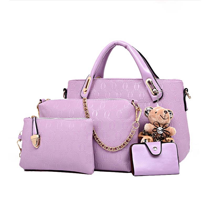 2016 Winter Composite Bags Women PU Leather Handbags Chain Bags Fashion Totes Bag Lady's Purse Messenger Bag 4 sets with Bear(China (Mainland))