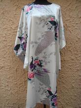 New Vogue White Novelty Lady Satin Bathrobe Printed Casual Nightwear Classic Style Yukata Gown Lounge Homedress One Size