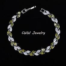 CWWZircons החדש טרנדי 2019 מעוקב Zirconia תכשיטי כסף צבע עלה קסם CZ קריסטל נקבה צמידי צמידים לנשים CB060(China)