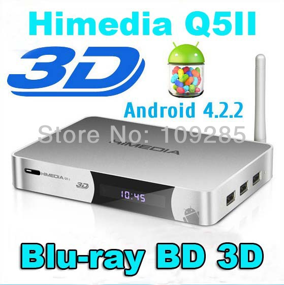 Himedia Q5 II 2 Dual Core Android 4.2 Smart TV Box Blu-ray ISO 3D 1080p HD Media Player DLNA AirPlay Miracast Video Streamer(China (Mainland))