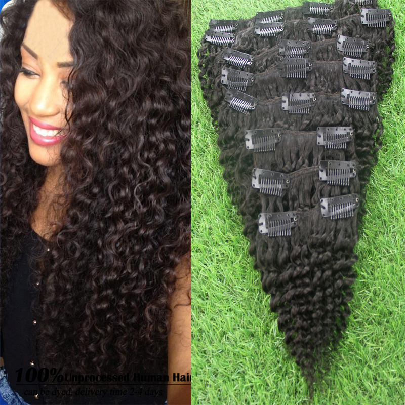 Brazilian Afro Kinky Curly Human font b Hair b font Clip In extensions 100g Natural Black