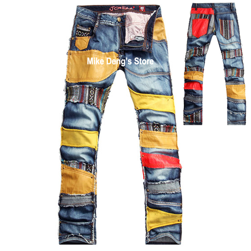 Spring Summer Fashion Designer Men's Cool Stylish Genuine Leather Patchwork Denim Trousers , European Style Ripped Modern Jeans - Mandy Deng's Store store