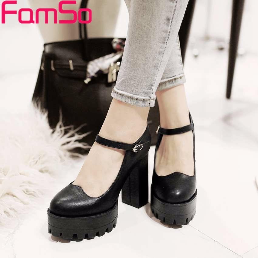 Plus Size34-43 2016 Retro Style Women's Boots Black High Heels Single Shoes Platforms Pumps Designer Spring Autumn Pumps PS2657