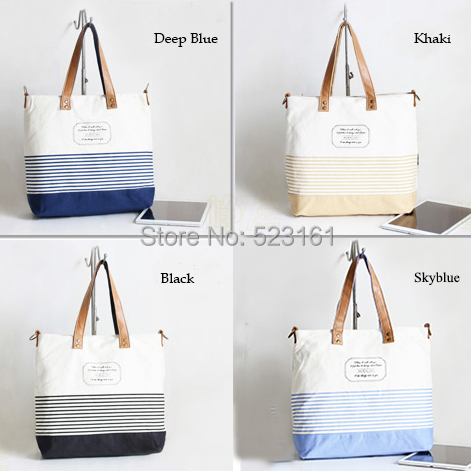 women canvas travel pouch crossbody shopping hand bag blue black khaki stripes messenger tote beach book bag weekend bag(China (Mainland))