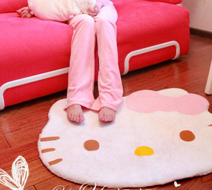 Free shipping 2015 Hot sale Hello Kitty Rug Velvet mats Bedroom carpet parlour floorcloth Cartoon floor Decoration Lovely rug