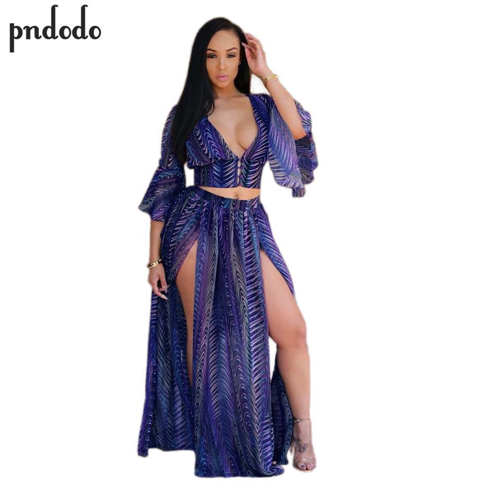Pndodo Women High Split Skirts Crop Tops Deep V-neck Elastic Waist Summer Maxi Dresses Flare Sleeve Sexy Women Two Piece Sets
