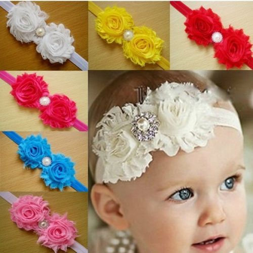 Baby Girls Crystal Pearl Flower Hairband Soft Elastic Hair Accessories Boutique(China (Mainland))
