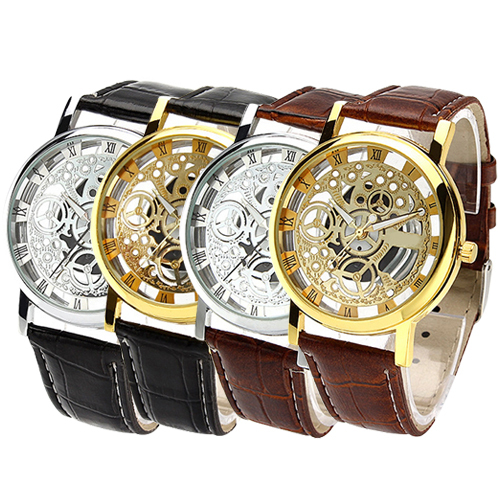 New hotMen s Women s Roman Numerals Faux Leather Band Skeleton Analog Sports Dress Wrist Watch