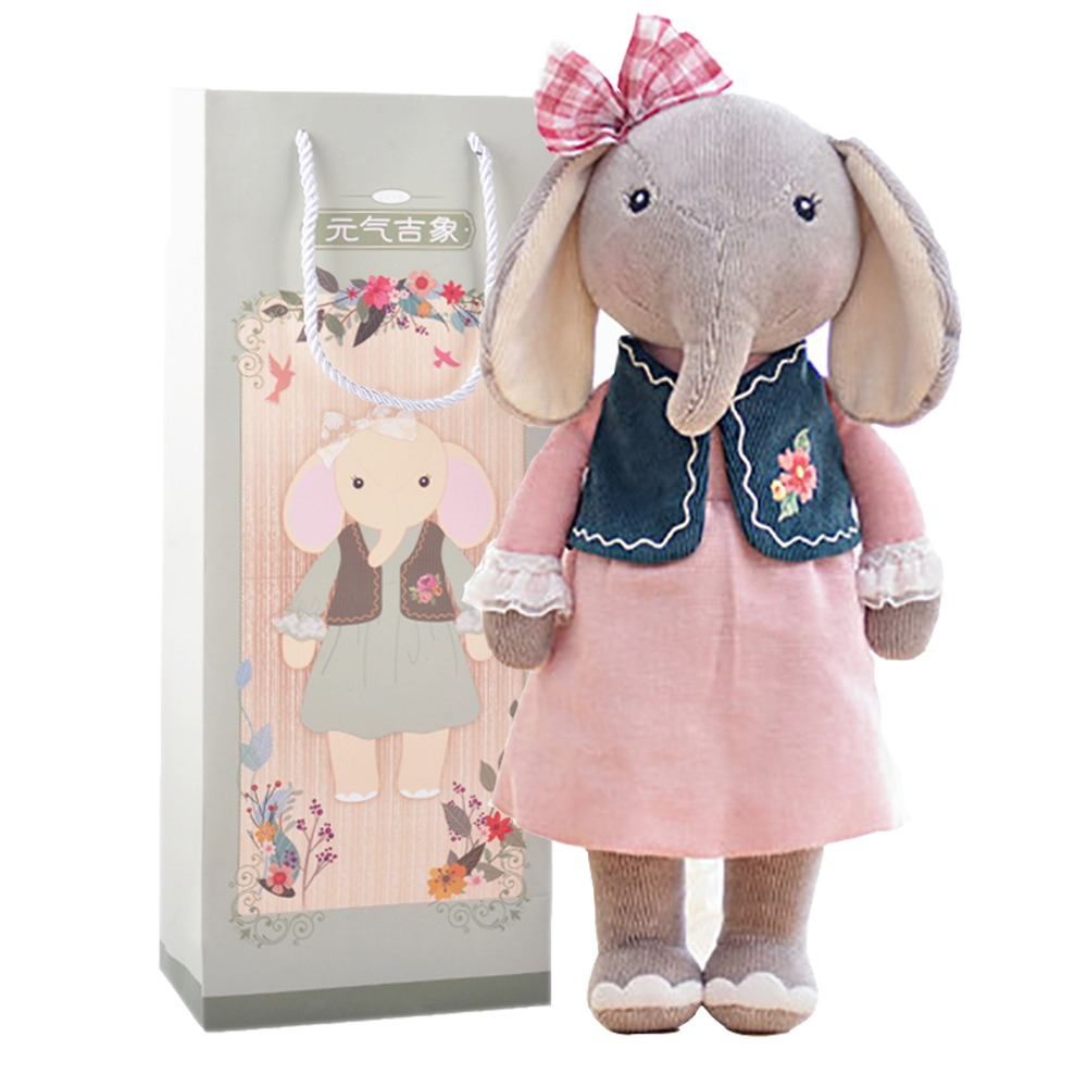 "METOO Plush Elephant Toys Girl Wear Cloth Dolls Pattern Skirt Stuffed Toys with Gifts Box for Kids Christmas Gifts Girls16.5""(China (Mainland))"