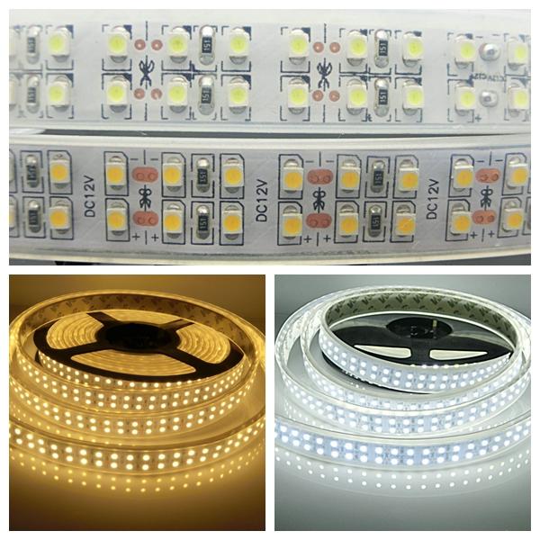 5M Double Row 3528 SMD LED Strip Waterproof IP67 DC12V LED Strips 240Leds/m 1200Leds LED Tape Light Cold/Warm White(China (Mainland))