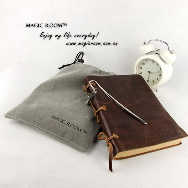 Silver Genuine leather retro notepad / leather diary / stationery notebook promoter / gift bookmarks / 3 color