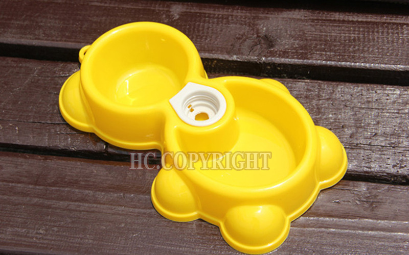 Super Lovely Yellow Color Cute Teddy Bear Shape New Pet Dog Puppy Cat Automatic Water Dispenser Drink Food Dish Feeding Bowl(China (Mainland))