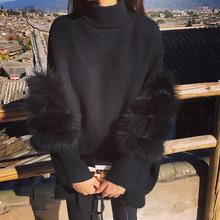 Women Oversized Fur Crop Sweater Winter Truien Dames Fluffy Sweater Tunic Turtleneck Pull Femme Manche Longue 2017 Outwear(China (Mainland))