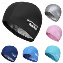 2016 New Elastic Waterproof PU Fabric Protect Ears Long Hair Sports Swim Pool Hat Swimming Cap Free size for Men & Women Adults