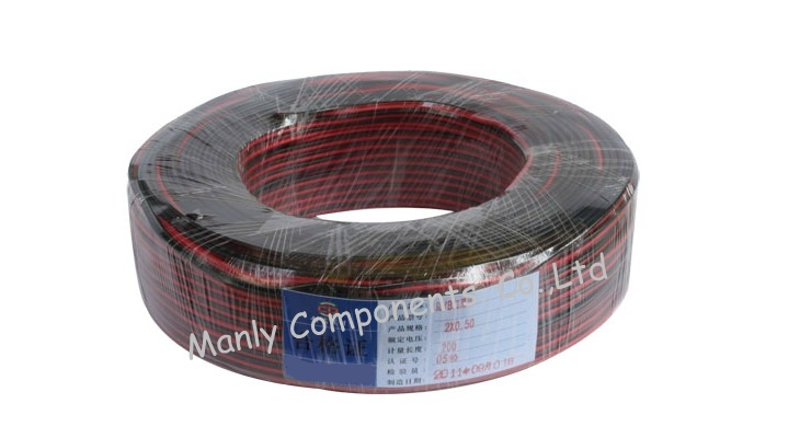 2 Pins Copper Cable Wire Extension for LED excellent quality 100m RVB 2*0.5mm Power Cable for CCTV installation