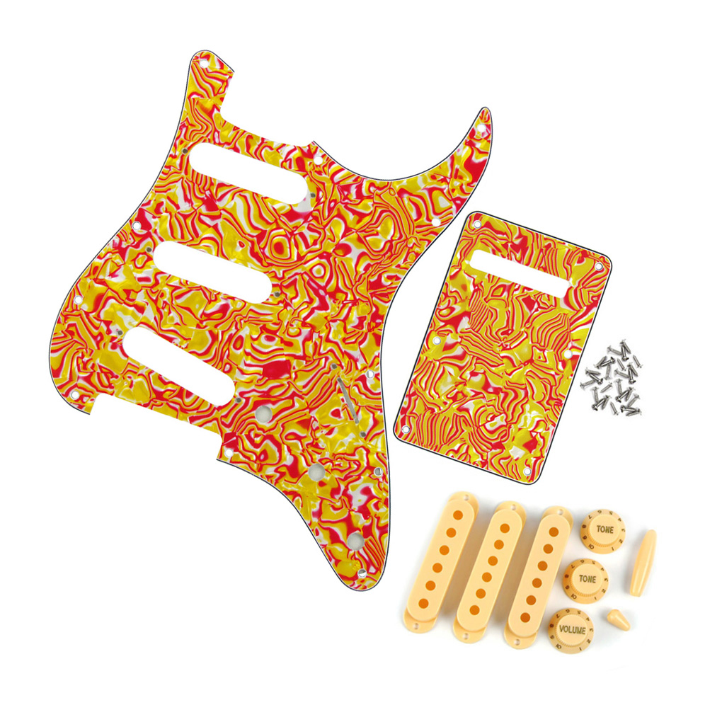 Strat Guitar Pickguard SSS 11Holes Back Plate 4PLY with Knobs Tip Caps Pickup Cover(China (Mainland))