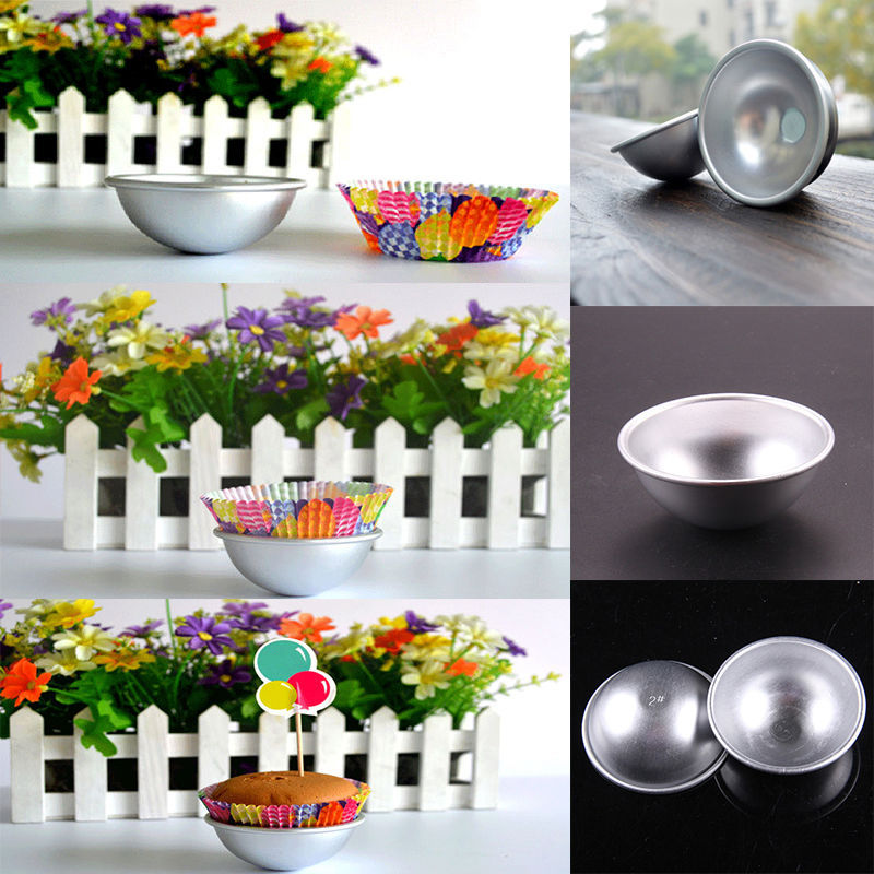 2 Size Fashion 3D Aluminum Sphere Bath Bomb Cake Pan Tin Baking Pastry Ball Mold #12574(China (Mainland))