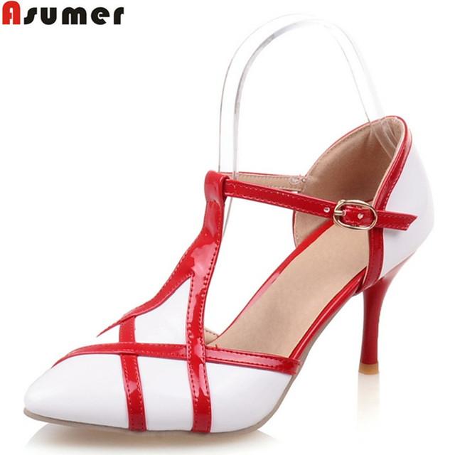 5 цветов Большой размер 34 - 46 новинка стилет высокие каблуки т ремень женщин туфли ...