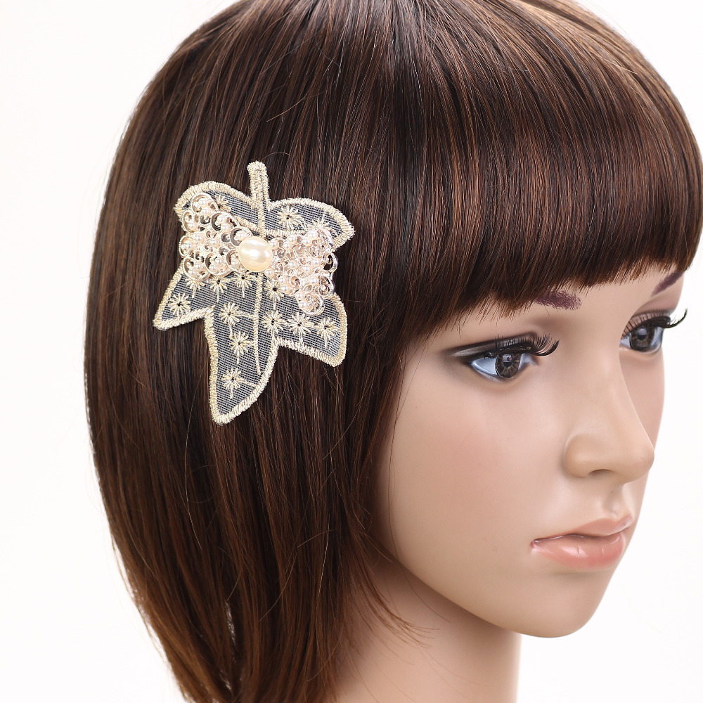 2015 Newest Fashion High Quality girls hair lace Maple flower accessories Head Jewelry Hot Selling hair clips hairpins for women(China (Mainland))