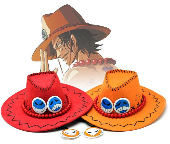 One Piece Hat Ace Anime Hats Toy Cosplay Cap Cartoon Hats cowboy Hat Doll Red Orange Color to Choose(China (Mainland))