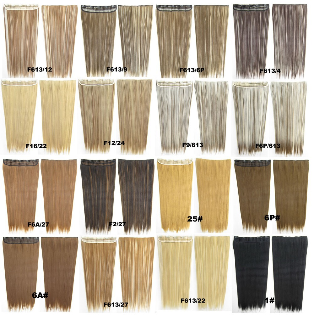 clip straight synthetic hair extension European Fashion Heat Resistance hairpiece 100 colors available 130g, 24 inch,1 - Shelly Dai's store