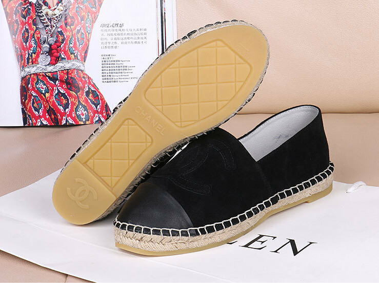 Fashion Brand Designer Genuine Leather Shoes Classic Beige Flat Espadrilles Shoes For Women Black White Plus Size 42 women flats(China (Mainland))