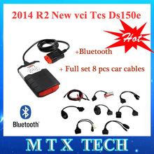 New vci 2014R2 with Bluetooth keygen Delphis DS150E TCS CDP Pro Plus OBD2 for Autocom Car diagnostic tools+full set 8 car cables(China (Mainland))