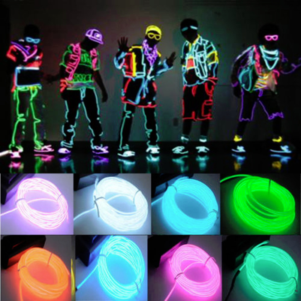 Гаджет  1pcs High Quality Flexible 3M EL Wire Rope For Party Dance Car Decor Neon Light Glow With Controller Different Colors to Choose  None Электронные компоненты и материалы